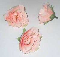 Головка розы 4,5 см, персиковая