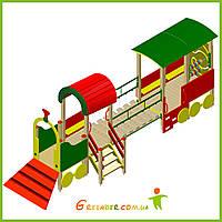 Поезд 06 с трапом, подвижным мостиком и вагончиком для детей игровая площадка