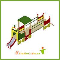 Поезд 04 с горкой и подвижным мостиком игровые комплексы для детей, фото 1