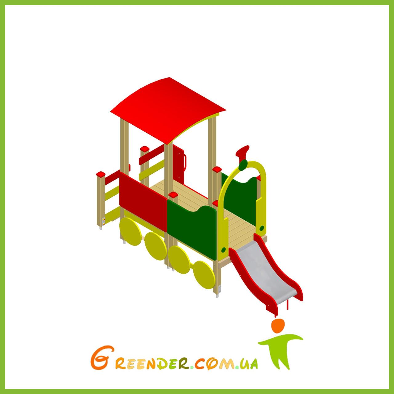 Поезд 01 с горкой деревянный на улицу для детей