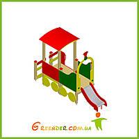 Поезд 01 с горкой деревянный на улицу для детей, фото 1