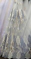 Тюль с объемной вышивкой (основа-фатин), фото 1