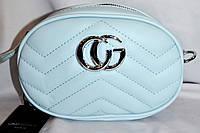 Женский голубой клатч-пояс Gucci на ремешке 19*13 см