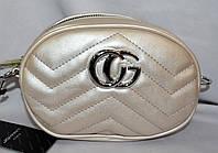 Женский перламутровый клатч-пояс Gucci на ремешке 19*13 см