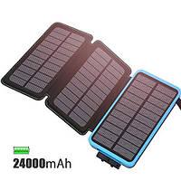 Зарядное устройство FEELLE Solar Charger 24000mAh Black & Blue (SC-0010) 3 солнечные панели, фото 1
