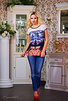 Стильная женская футболка с сеткой и рисунком, фото 1