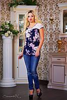 Красивая женская туника с цветочным принтом Большие размеры, фото 1