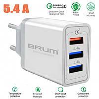 Сетевое зарядное BRUM BM-SQ-002 QC3.0 (3USB 5.4A) , фото 1