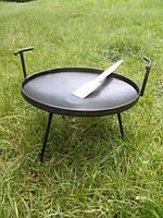 Сковорода из диска бороны 50см, ножки и ручки съемные, для готовки на костре с крышкой, фото 1