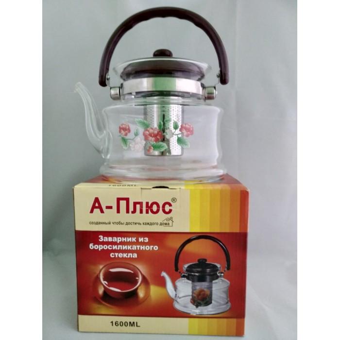 Стеклянный чайник-заварник А-Плюс TK-1047 1,6 литра