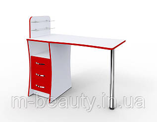 """Маникюрный стол M104 """"Элегант"""" c стеклянными полочками под лак  Фасад в цвете"""
