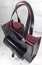 161-3 Сумка женская натуральная кожа, черный глянец с изнанкой цвета фуксии формат А 4 +, фото 2