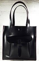 161-3 Сумка женская натуральная кожа, черный глянец с изнанкой цвета фуксии формат А 4 +, фото 3