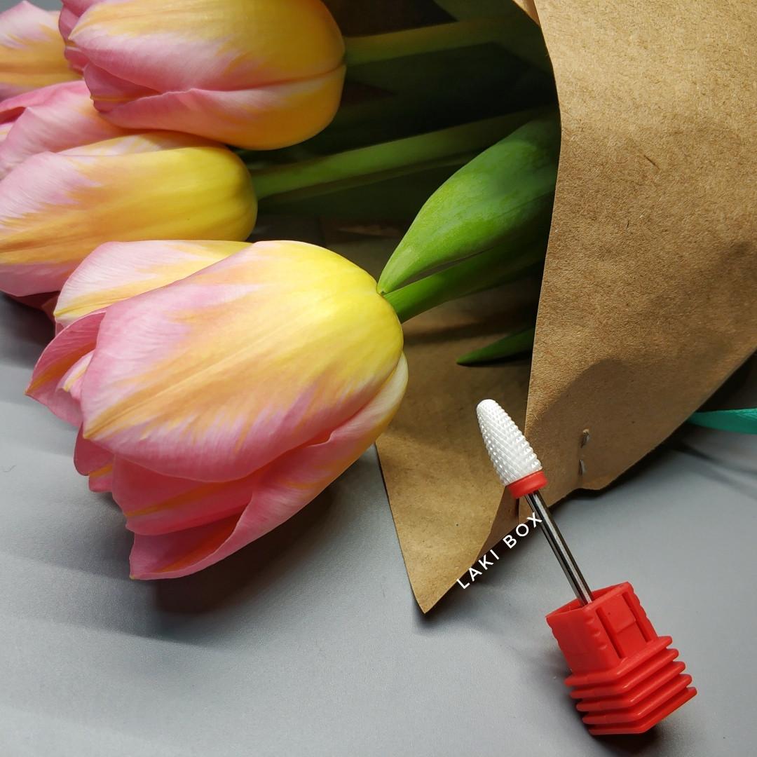 Фреза керамическая кукуруза для ногтей геля гель лака красная средняя