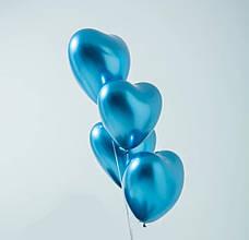 """Хром синий воздушный латексный шар сердце 12"""" дюймов 28 - 30 см."""