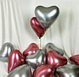 Повітряний латексний куля серце срібло хром з дзеркальним ефектом 30 см, фото 3