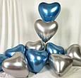 Повітряний латексний куля серце срібло хром з дзеркальним ефектом 30 см, фото 2