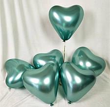 """Хром зеленый воздушный латексный шар сердце 12"""" дюймов 28 - 30 см."""