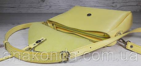 98 Сумка женская натуральная кожа, желтая лимонная Lemon Verbena лимонная вербена, фото 3