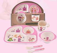 Детский набор посуды из бамбука Замок принцессы