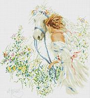 Набор для вышивания крестиком Девушка с лошадью. Размер: 33*36,5 см