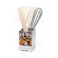 Подставка Cheese&Wine для кухонных принадлежностей + деревянные лопатки и венчик (BD-DU959-W_psg)