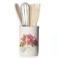 Подставка Райский сад для кухонных принадлежностей + деревянные лопатки и венчик (BD-DM959-P_psg)