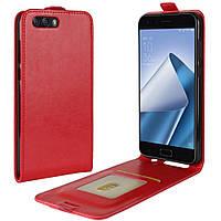 Чехол IETP для Asus ZenFone 4 / ZE554KL / z01kd Флип вертикальный кожа PU красный