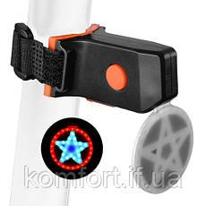 """Фонарь велосипедный X2 """"STOP"""" (красный+желтый/синий) аккум. Li-ion, micro USB, фото 2"""