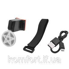 """Фонарь велосипедный X2 """"STOP"""" (красный+желтый/синий) аккум. Li-ion, micro USB, фото 3"""