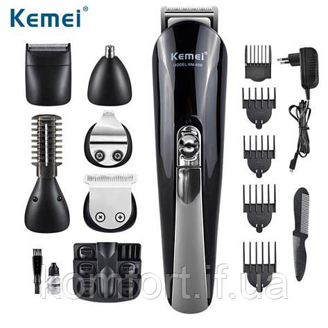 Набор для стрижки 11 в1 триммер машинка бритва Kemei KM 600, фото 2