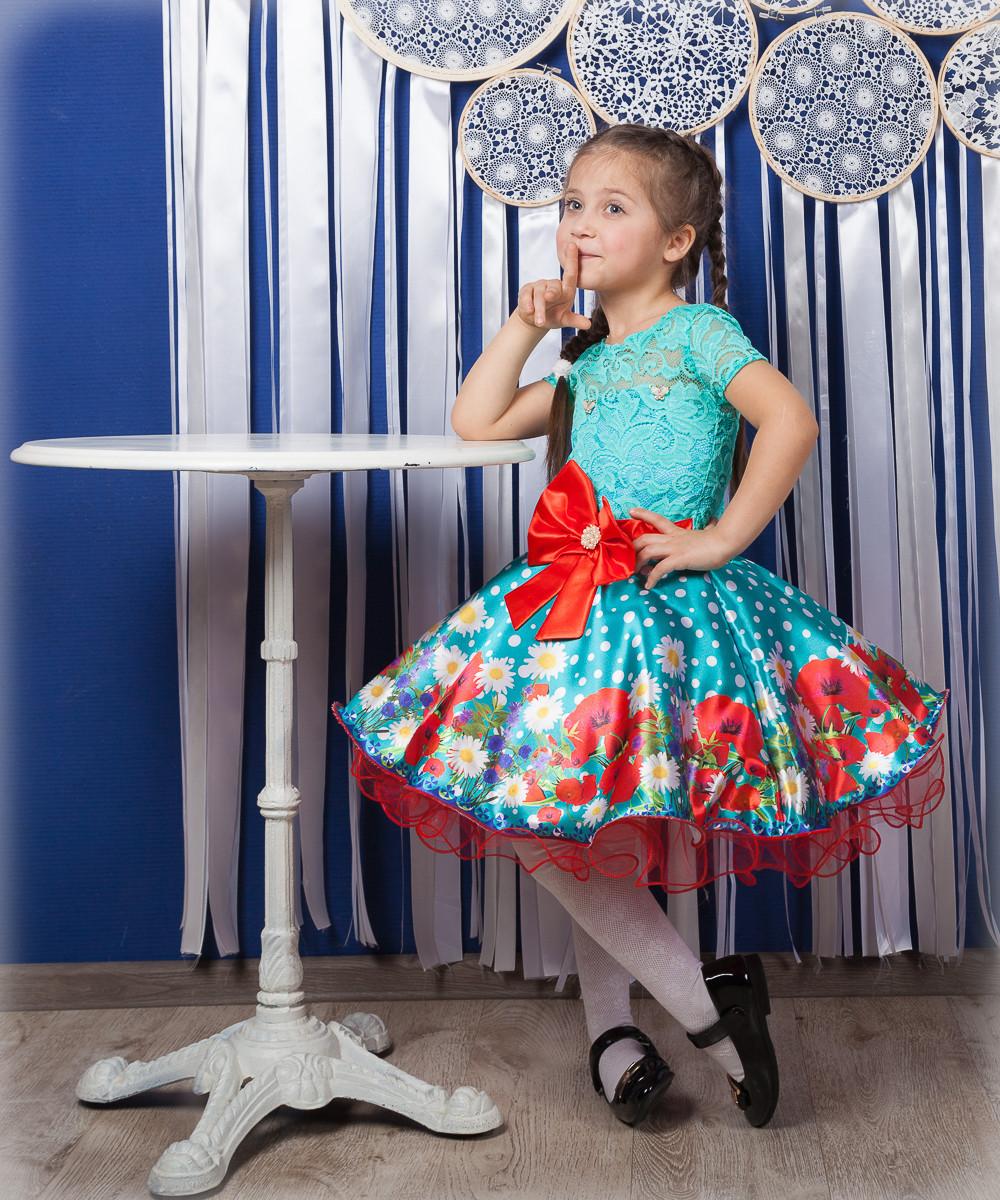 Красивое нарядное платье  с цветами  для девочек