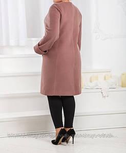Женское пальто больших размеров кашемировое с подкладом на синтепоне