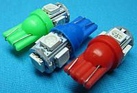 Светодиодная лампа W5W T10 LED 5 smd красный цвет