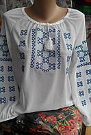 Белая сорочка с голубым узором