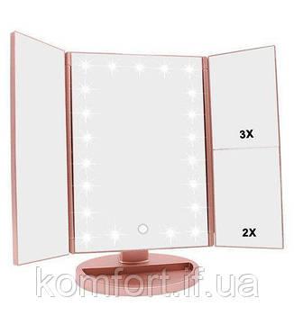 Зеркало косметическое настольное с LED подсветкой трехстворчатое, фото 2
