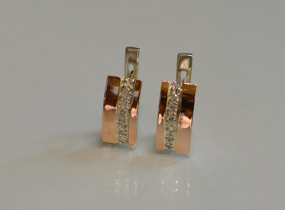 Серебряные серьги с золотыми вставками