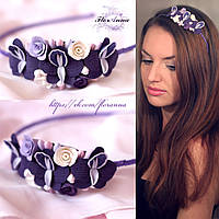 """""""Фиолетовые орхидеи"""" Ободок с цветами из полимерной глины."""