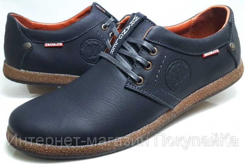 7770a35581e6 Мужские Осень-Весна Кожаные туфли в стиле Wrangler Techlite (тёмно-синие)  Польша