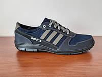 Чоловічі туфлі джинсові з синіми полосами, фото 1