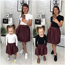 Юбка мама/дочка эко кожа. Цвет чёрный, бордо, размеры дочка 86-122см