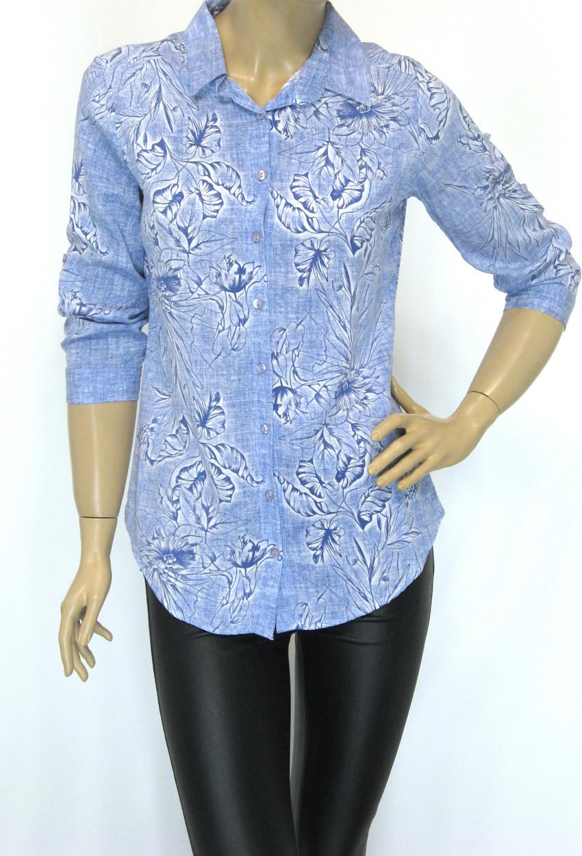Стильна жіноча сорочка з квітковим принтом
