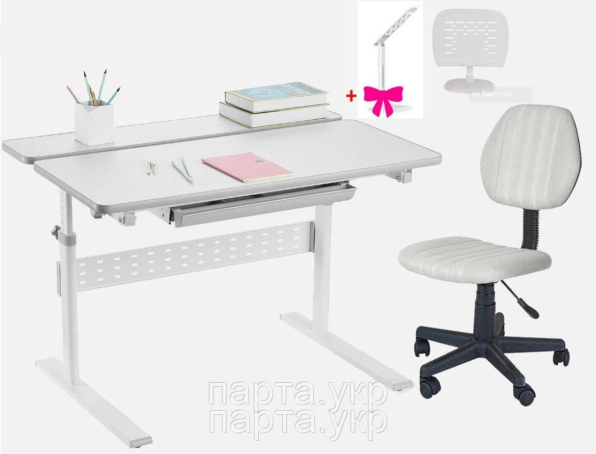 Комплект парта трансформер Colore + детское компьютерное кресло LST4, Grey, подставка, лампа