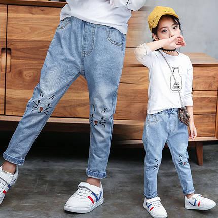 Детские джинсы свободные с вышивкой котик , фото 2