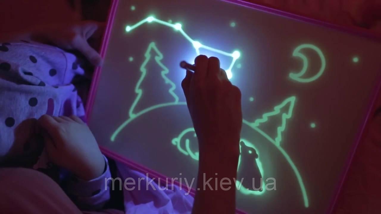 """Дошка планшет """"Малюй світлом"""" набір для малювання в темряві гра А3"""