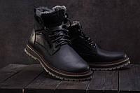 Ботинки мужские Riccone 222 черные (натуральная кожа, зима)