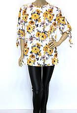 Шифонова пляжна блуза туника великі розміри, фото 2