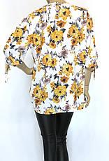 Шифонова пляжна блуза туника великі розміри, фото 3