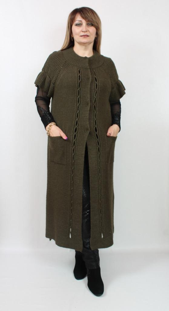 Длинная женская вязаная жилетка Турция, размеры 50-58