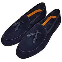 Мужские замшевые туфли лоферы Luciano Bellini синие L0019/19